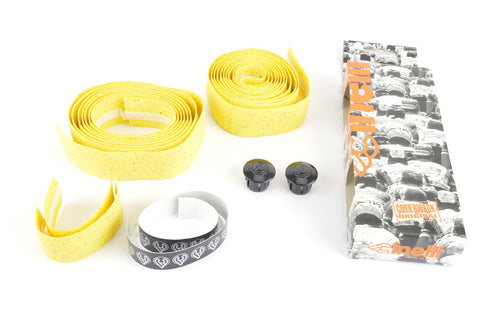 NEW Cinelli cork yellow handlebar tape with black end plugs from the 1990s NOS/NIB