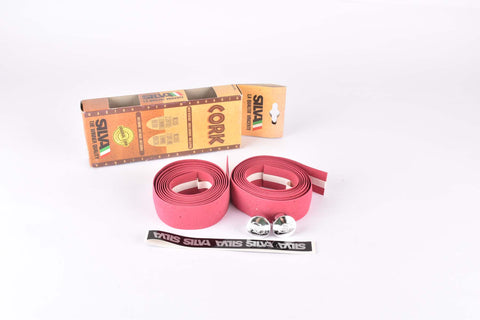 NOS Silva Cork handlebar tape in dark pink from the 1990s