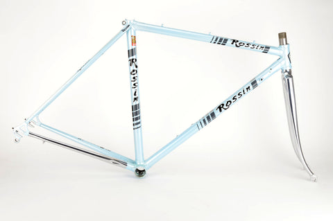 Rossin Super Record frame 49 cm (c-t) / 47.5 cm (c-c) with Columbus SLX Tubing in light blue and chrome