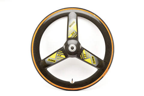 Mavic 3G carbon tri spoke tubular rear wheel from the 1990s