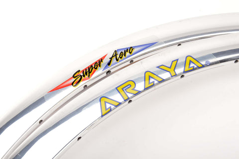 NEW Araya silver polished Super Aero clincher Rims 700c/622mm with 32 holes from the 1980s NOS