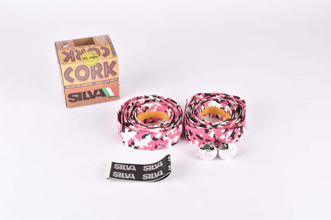 NOS Silva Cork dappled handlebar tape in pink/white/black from the 1980s