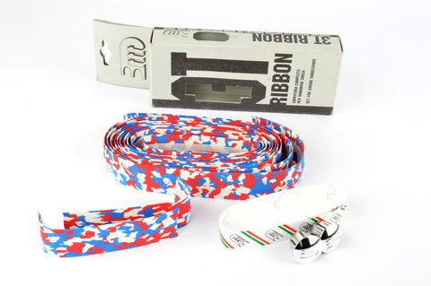 NEW 3ttt cork white/blue/red handlebar tape with silver end plugs from the 1980s NOS/NIB