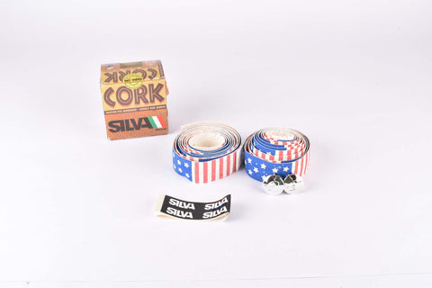 NOS Silva Cork Stars and Stripes handlebar tape in white/blue/red from the 1980s