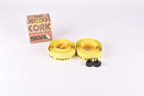 NOS Silva Cork branded Coppi handlebar tape in yellow from the 1980s