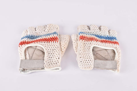 Vintage crochet and leather cycling gloves in size L