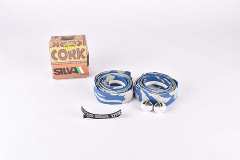 NOS Silva Cork handlebar tape in grey/blue from the 1980s