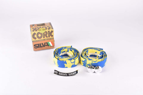 NOS Silva Cork handlebar tape in yellow/blue from the 1980s
