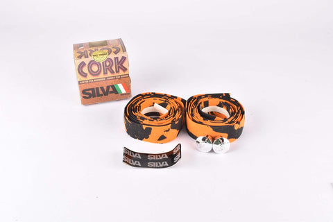 NOS Silva Cork handlebar tape in orange/black from the 1980s