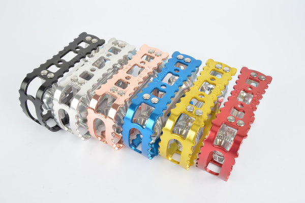 MKS BM-7 pedals with english threading in black, silver, blue, red, gold, copper