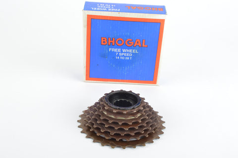 NEW Bhogal 7-speed Freewheel with 14-28 teeth from the 1980s NOS/NIB