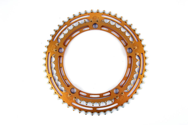 Golden anodized Gian Robert Chainring set with 42/52 teeth from the 1980s