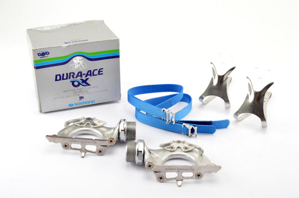NOS/NIB Shimano Dura-Ace AX #PD-7300 pedals including toeclips and straps from 1981
