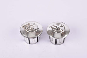 Silver Cinelli winged logo handlebar end plugs