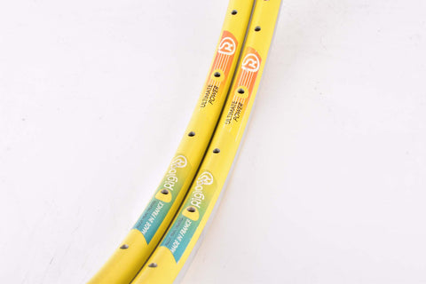 NOS Rigida ultimate power clincher rimset 700c/622mm with 32 holes from the 1990s, yellow
