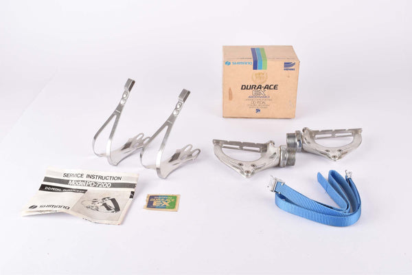 NOS/NIB Shimano Dura-Ace EX #PD-7200 pedals including toeclips and straps from 1981