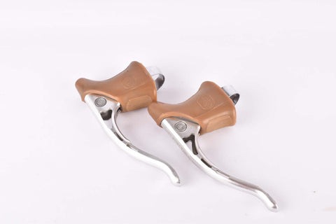 Campagnolo Record #2030 milled brake lever set with brown shield logo hoods from the 1980s