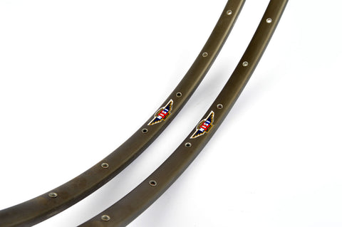 NEW Nisi dark anodized AN85 tubular Rims 650C/571mm with 28 holes from the 1980s NOS