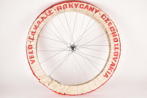 Red and white Favorit Rokycany single Professional Team Service  wheel cover tire saver