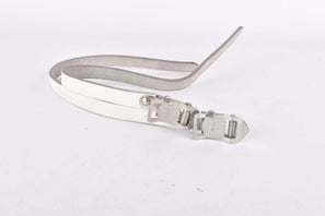 NOS White Record Leather toe clip straps