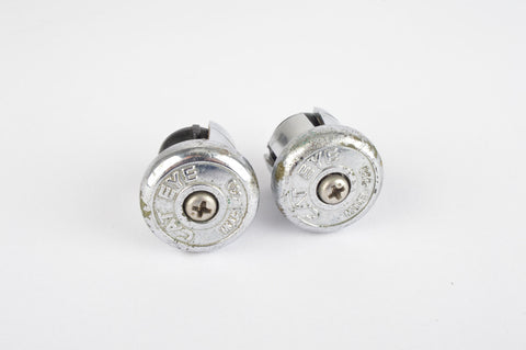 Cat Eye handlebar end plugs to screw tight, in silver chrome