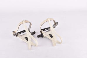 Shimano Exage Sport #PD-A450 white aero Pedal Set with toe clips and straps from the late 1980s