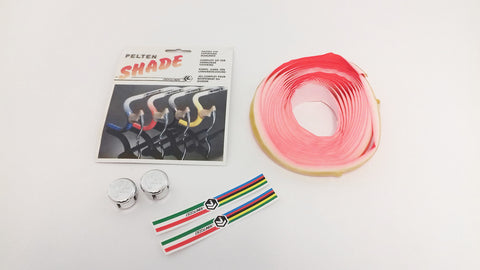 NEW Ciclolinea Pelton Shade white/red fading handlebar tape from the 1980s NOS