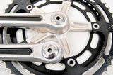 Black anodized / fluted Shimano Dura Ace first generation crankset in 170 length from 1976