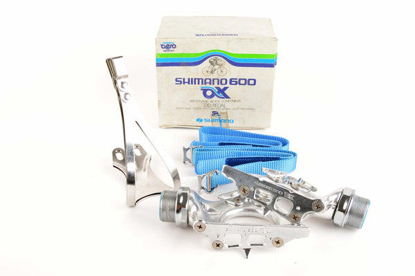 NEW Shimano 600 AX #PD-6300 pedals, including toeclips and straps from 1981-84 NOS/NIB