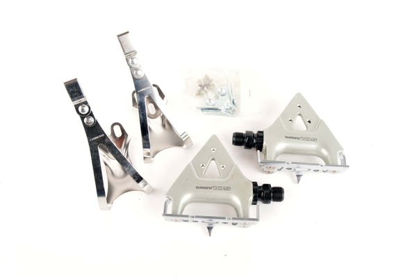 NEW Shimano 105SC #PD-1055 pedals, including toeclips from 1990-95 NOS