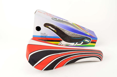 NEW Huracan Crono Saddle with red/black/white lycra deck from the 1980s NOS/NIB