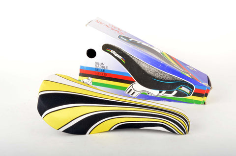 NEW Huracan Crono Saddle with yellow/black/white lycra deck from the 1980s NOS/NIB