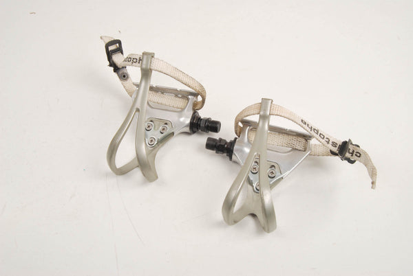 Shimano RX100 PD-A550 pedal set with toeclips and Christophe toestraps from the 90s