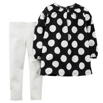 2-piece polka dot top and legging set