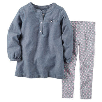 2-piece chambray top and legging set