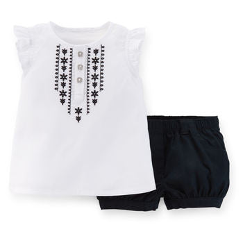 2-piece cotton sleeveless top and shorts set