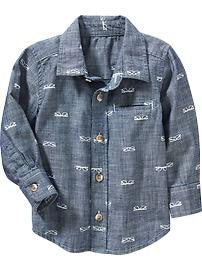 Graphic-Print Chambray Shirt