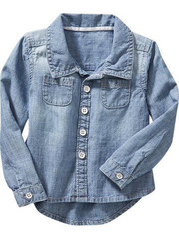 Hi-Lo chambray shirt for baby