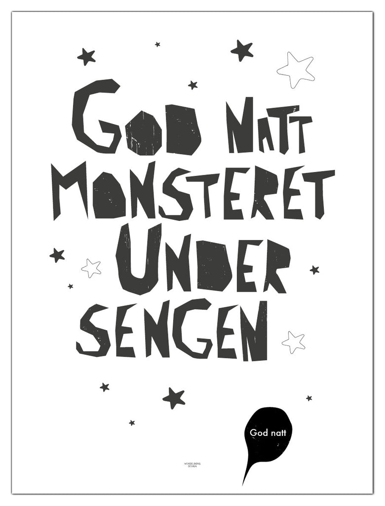 "Plakat ""god natt monsteret"" wendelborgdesign"