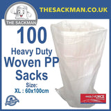 "QTY 100 Woven Rubble Sacks Reusable 60 cm x 100 cm (23"" x 39"" Inches) Sackman"