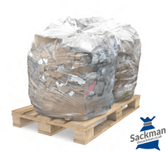 "Heavy Duty Clear Festival Waste Sacks, Size : 20 x 34 x 46"" Inches Box/Qty 100, Holds upto 20 kilos - Sackman"