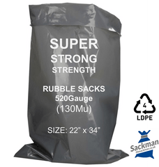 "100 Pack Super Strength XL Grey Rubble Bags, 520 Gauge 130Mu 22"" x 34"" Inches, 559mm x 913mm Sackman"