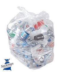 "Clear Refuse Sacks 16""x 25"" x 39"", QTY 200 Sackman"