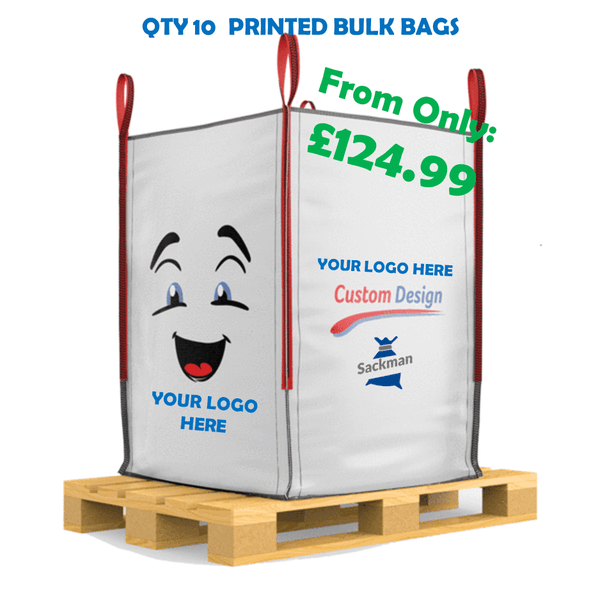 QTY 10 Printed on Standaard Bulk Bags, One Side with your Logo / Artwork