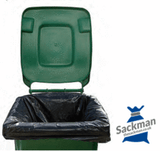 "Wheelie Bin Liners 28 x 44 x 62"" Inches Black 100 per Box"
