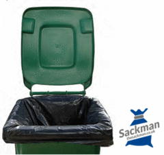 "Wheelie Bin Liners 28 x 44 x 62"" Inches Black 100 per Box - Sackman"
