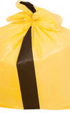 "QTY 200 Large Yellow Tiger Stripe Refuse Sack 18x29x38"" Inches (457 x 737 x 990mm) Box Qty 200"