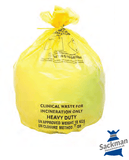 "Medium Yellow Clinical Waste Sack 11x17x26"" Inches (280 x 432 x 660mm) Box Qty 500"