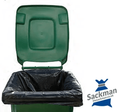 "Black Wheelie Bin Liners 28 x 44 x 62"" Inches 100 per Box - Sackman"
