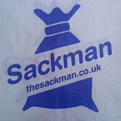 Printed Woven PP Rubble Sacks with your Logo. MOQ* Sackman